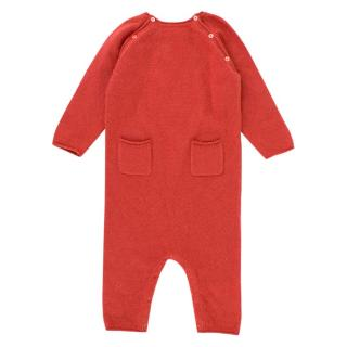 Bonpoint Baby 6M Red Knit Cashmere Babygrow