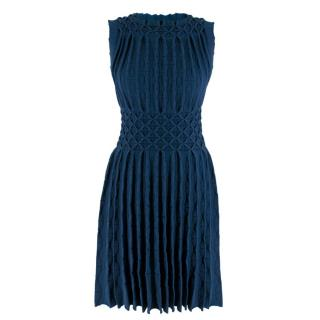 Alaia Blue Pleated Textured Knit Sleeveless Dress