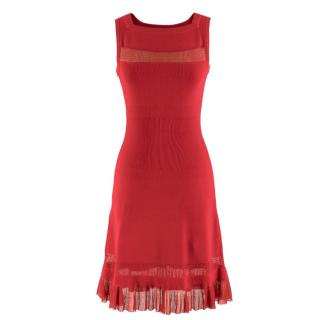 Alaia Red Fine Mesh Cut-Out Sleeveless Knit Dress
