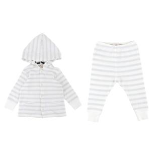 Bonpoint Cotton Baby 6M White Striped Top and Trouser Set