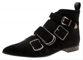 Burberry Black Suede Milner Buckle Detail Boots
