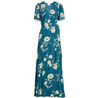 Privacy Please Teal Floral Plaza Kimono Wrap Maxi Dress