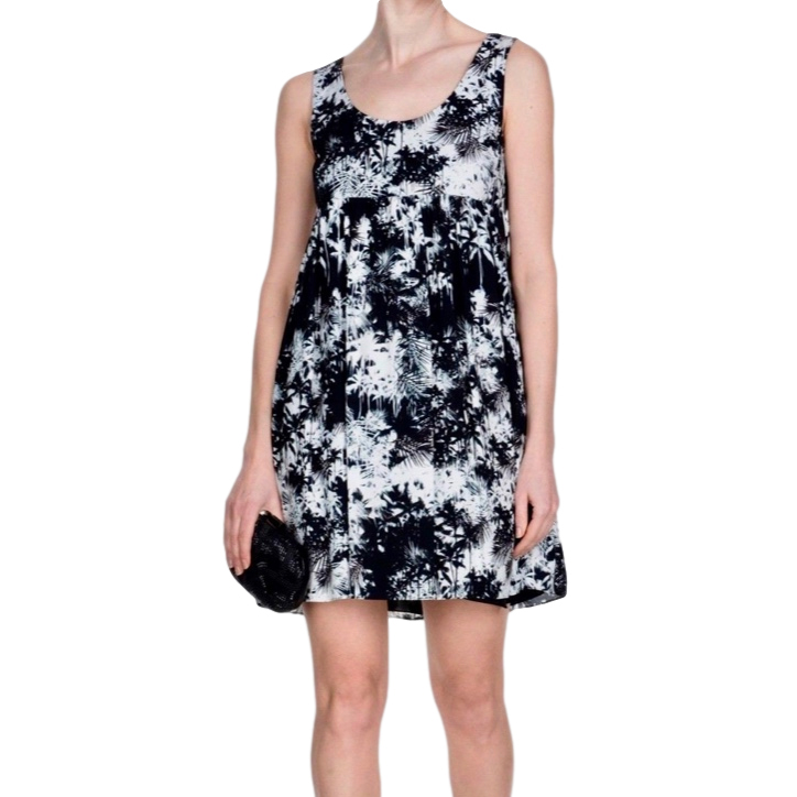 Saint Laurent Palm Tree Print Black & White Dress.
