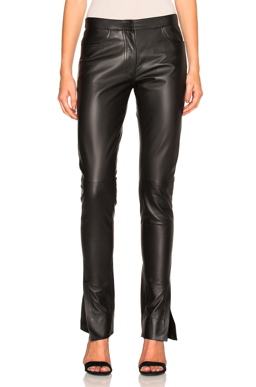 Loewe Slit Cuff Leather Trousers in Black