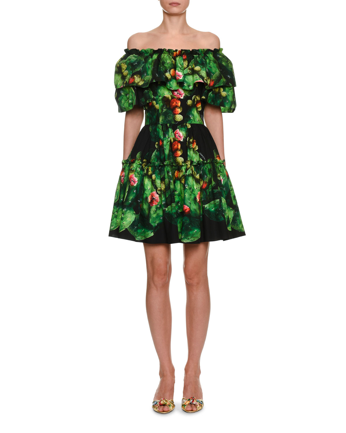 Dolce & Gabbana Cactus & Floral Print Cotton Poplin Mini Dress