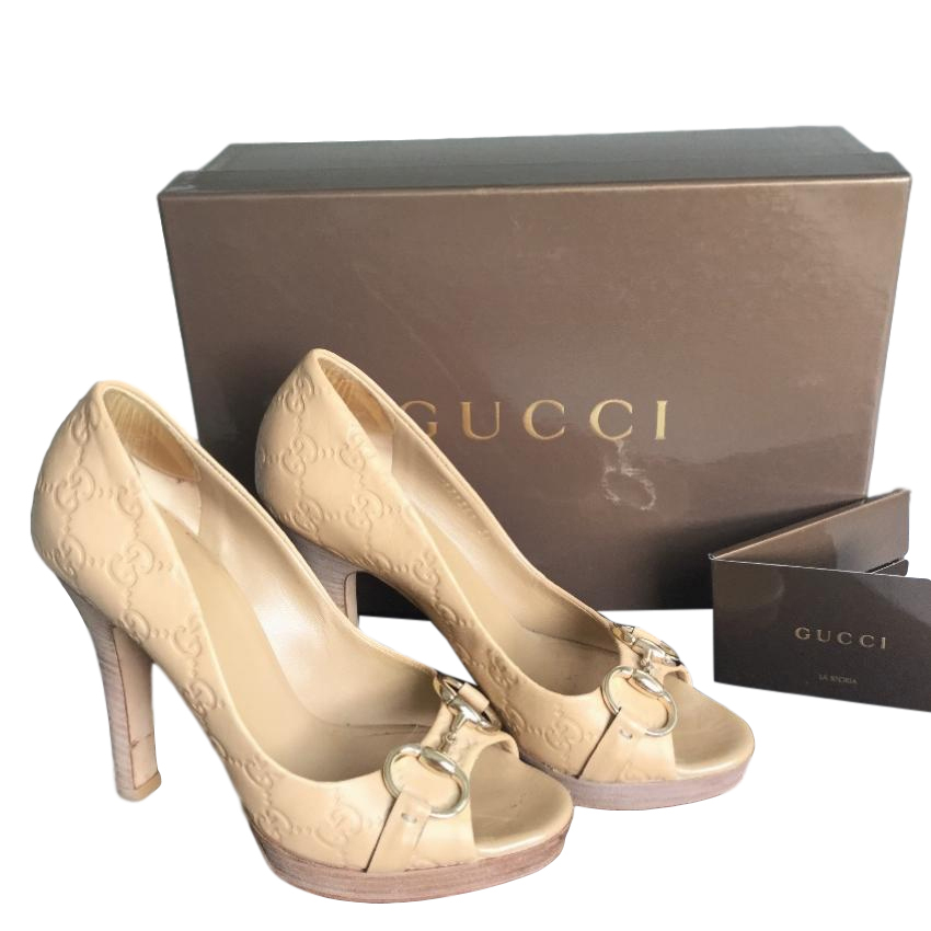 Gucci Monogram Beige Peep-Toe Pumps