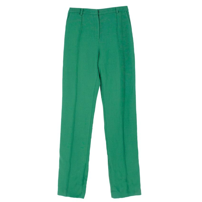 Jonathan Saunders piped-trim green crepe trousers