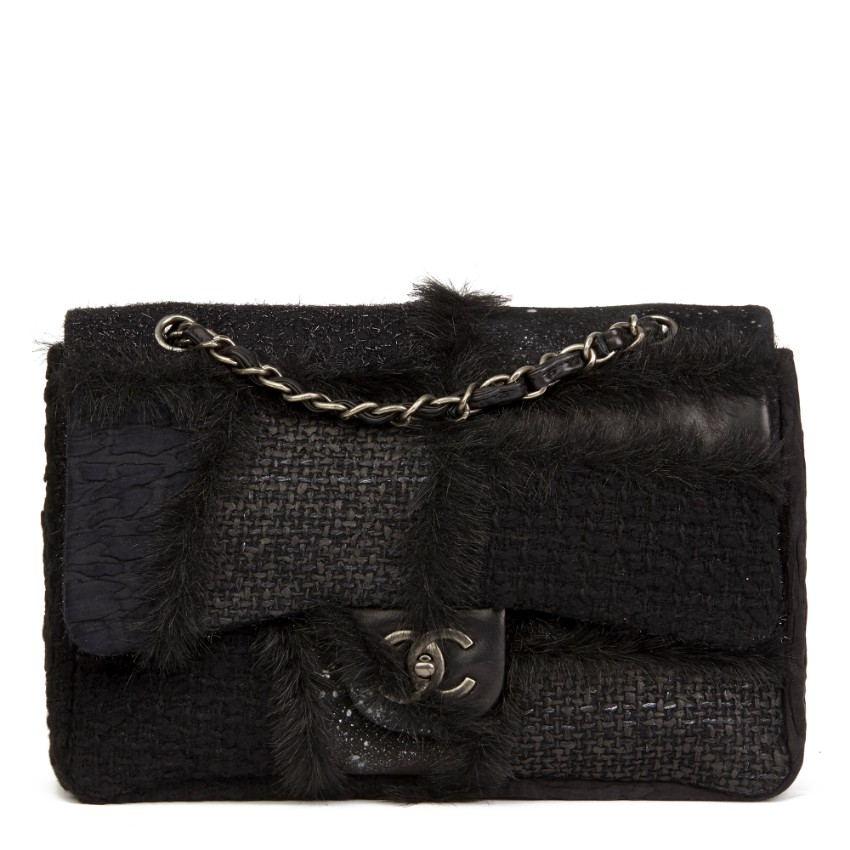 Chanel Tweed, Leather & Fur Patchwork Jumbo Flap Bag