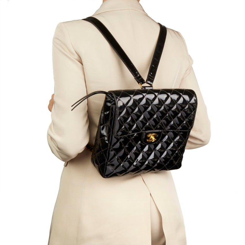 Chanel Patent Leather Timeless Quilted Vintage Backpack