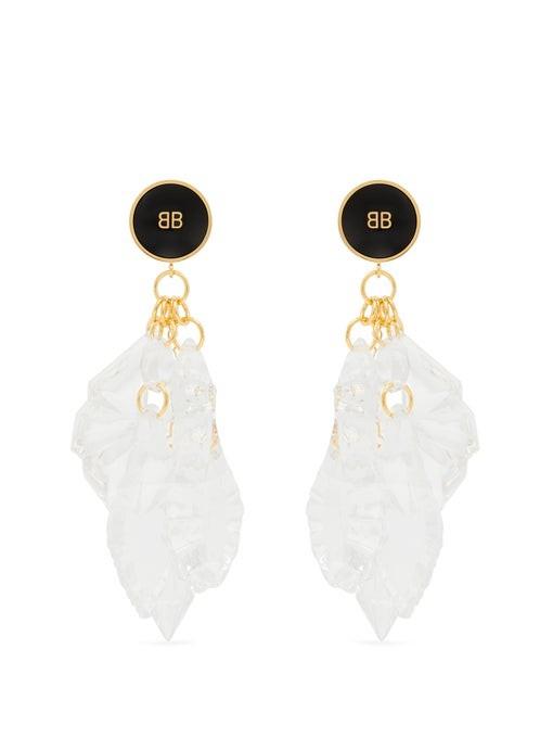Balenciaga Perspex Pendant Drop Chandelier Earrings