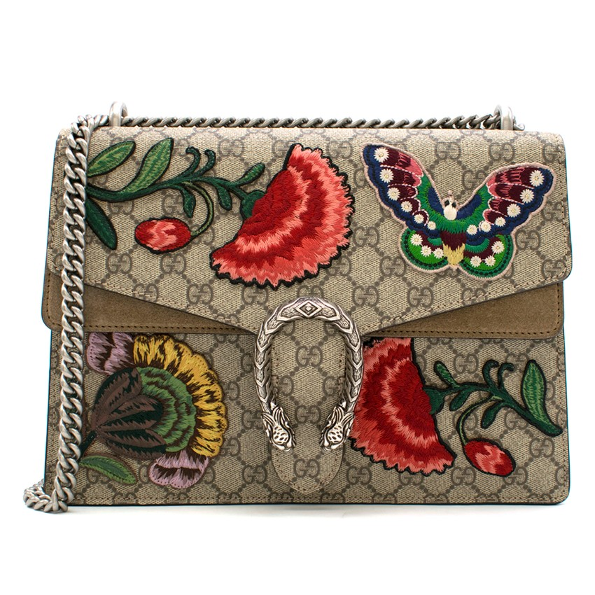 Gucci Floral Embroidered Medium Supreme Dionysus Bag