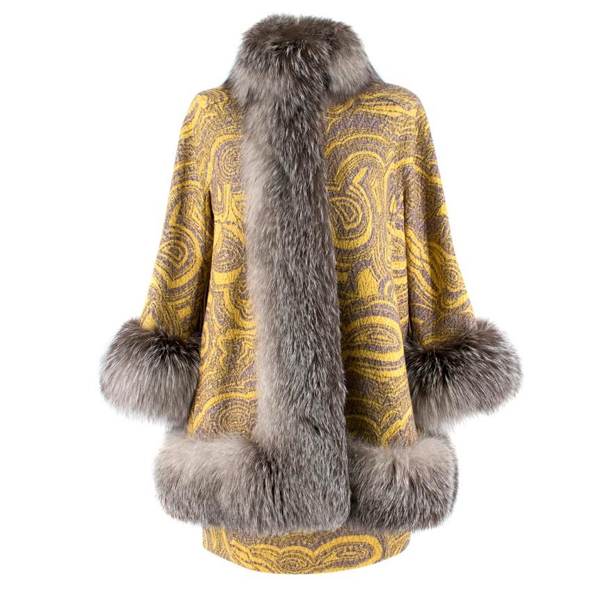 Missoni Yellow Jacquard Wool & Fox Fur Trim Coat & Mini Skirt