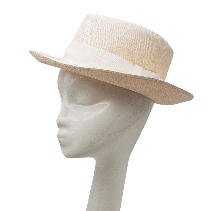 100% Capri Paille Straw Panama White-ribboned Hat