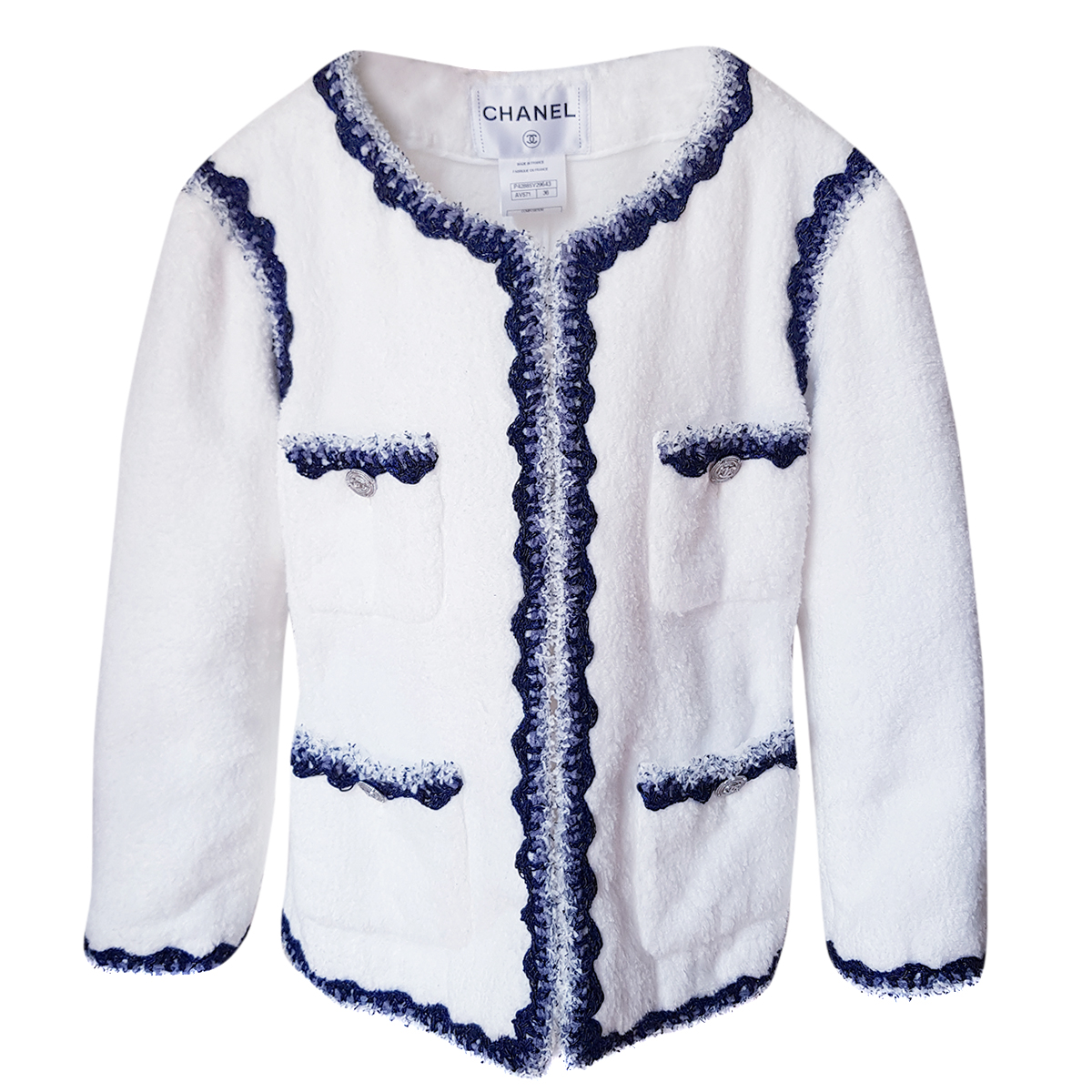 Chanel White Jacket W/ Blue Tweed Trim