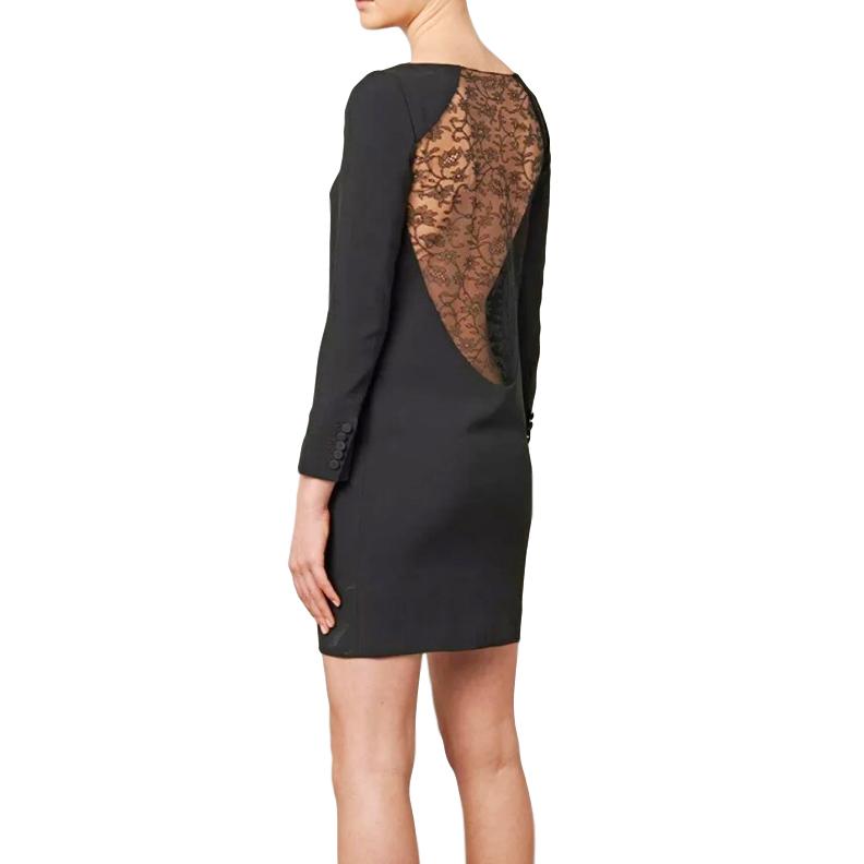 Saint Laurent Lace Back Crepe Mini Dress