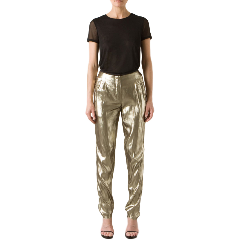Lanvin Silk Metallic Gold Pleated Trousers