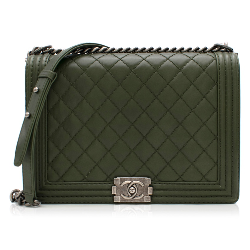 Chanel Khaki Calfskin Large Boy Bag
