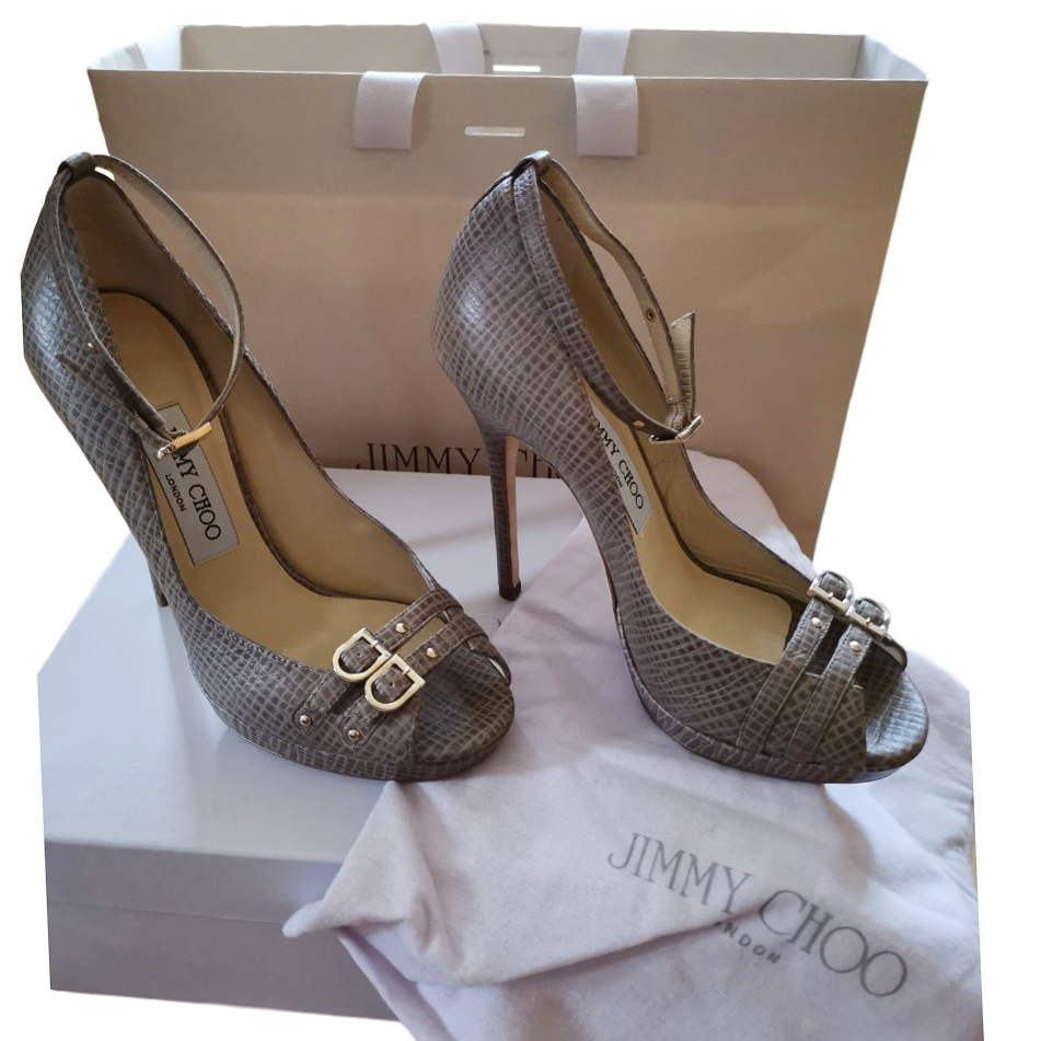 Jimmy Choo Taupe Buckle Front Sandals