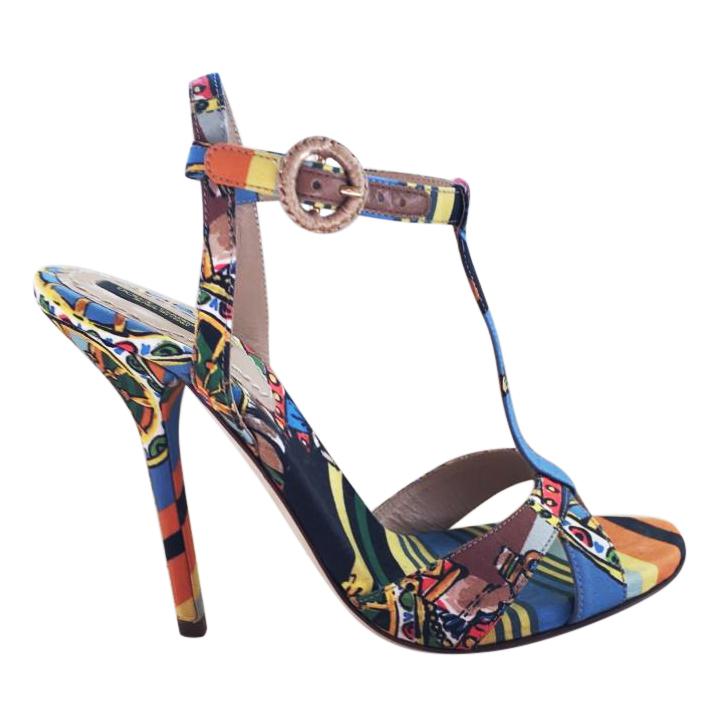 Dolce & Gabbana Multi-Coloured Printed T-Bar Sandals