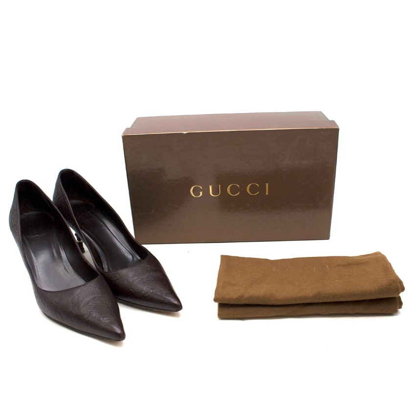 Gucci Brown Leather Monogram Bamboo Heel Pumps