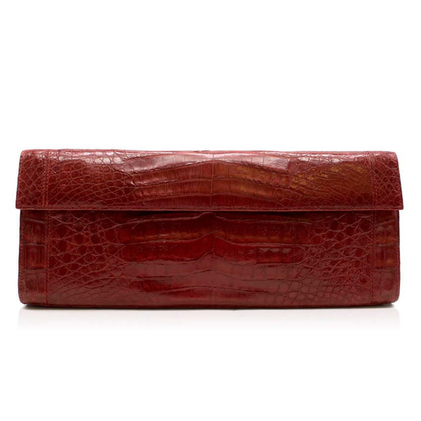Nancy Gonzalez Red Crocodile Leather Clutch Bag