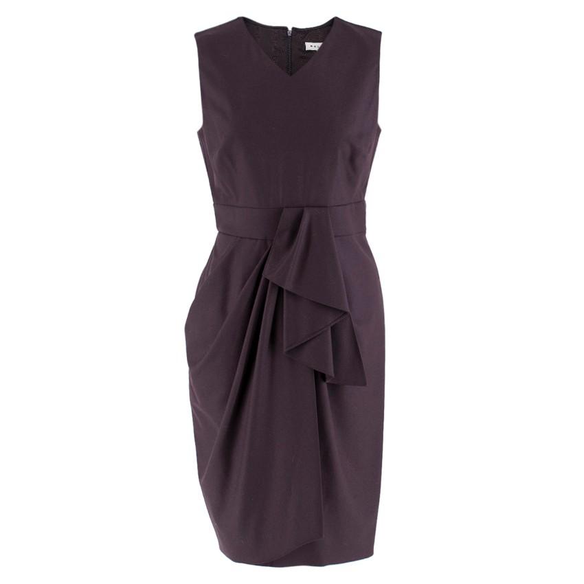 Celine Plum Purple Wool Blend Draped Dress
