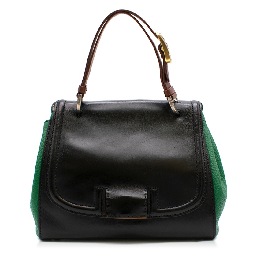 Fendi Black & Green Leather Silvana Top-handle Shoulder Bag