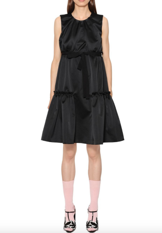 Rochas Black Satin Tiered Peplum Dress