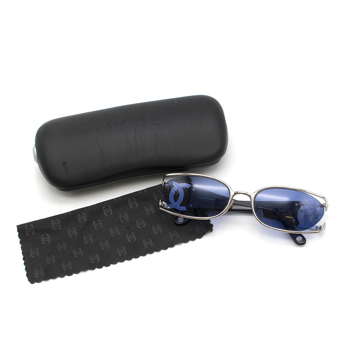 Chanel Blue Oval Cut-Out CC Sunglasses