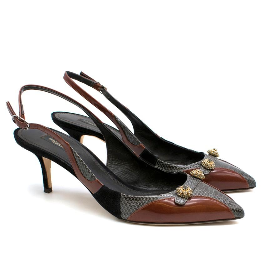 Dolce & Gabbana Leather & Snakeskin Slingback Sandals