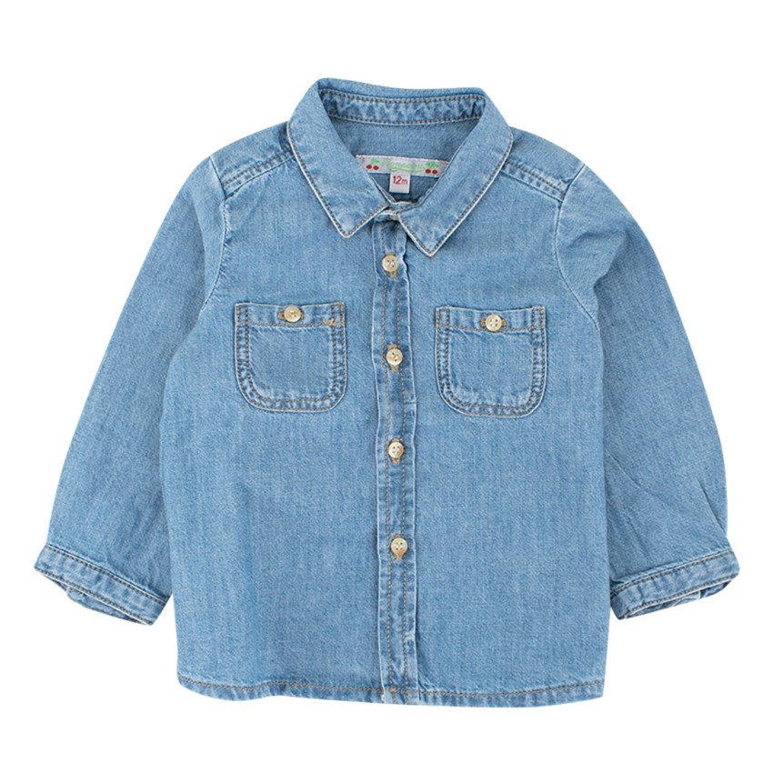Bonpoint Baby Girl 12M Blue Cotton Denim Top Shirt