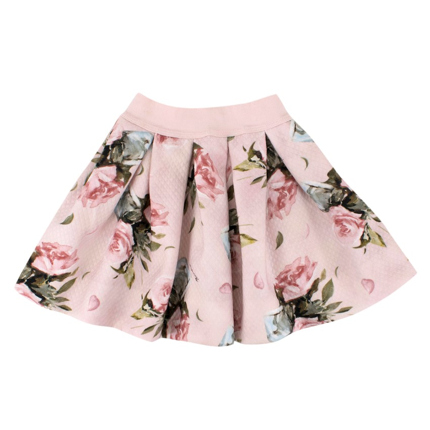 NJ (Alessa M) Monnalisa Girls 3Y Pink Pleated Floral Circle Skirt