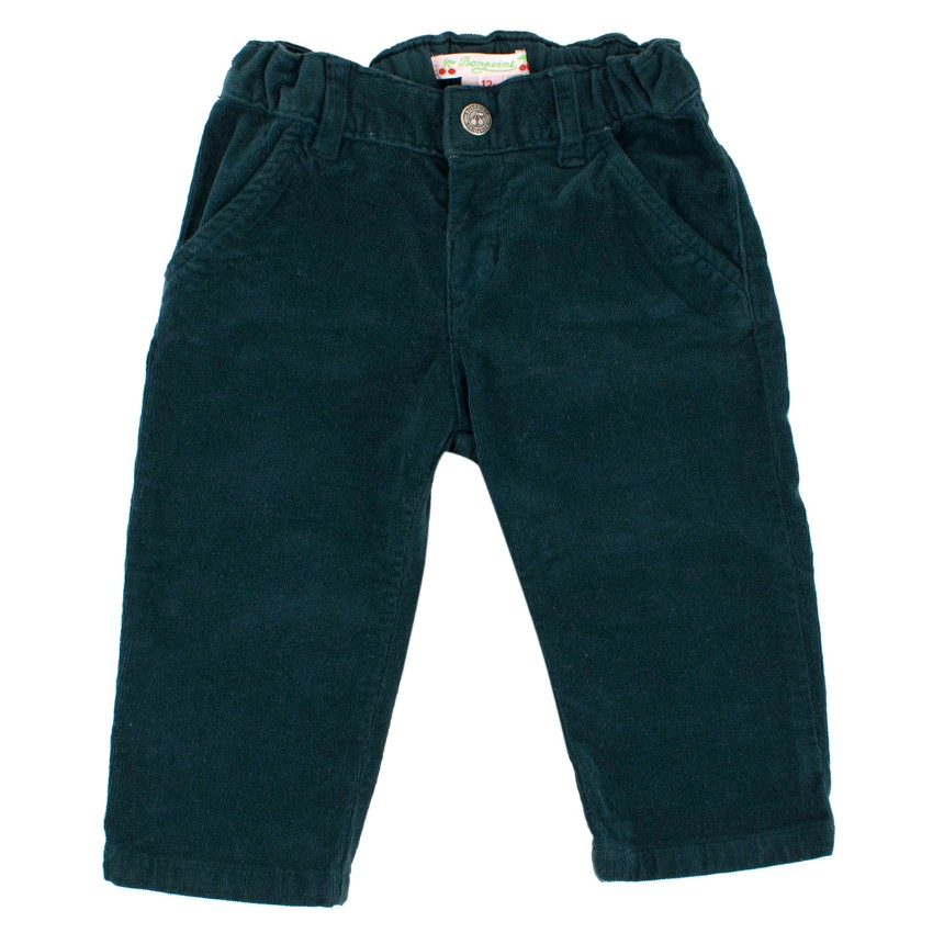 Bonpoint Baby 12M Cotton Velour Dark Green Trousers