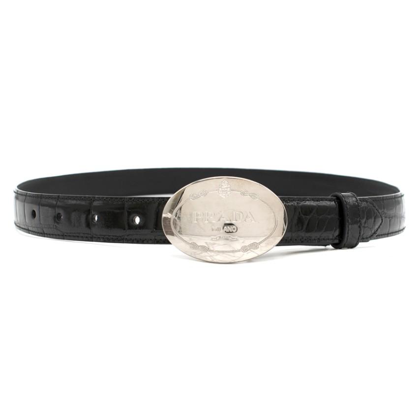 Prada Black Crocodile Leather Belt