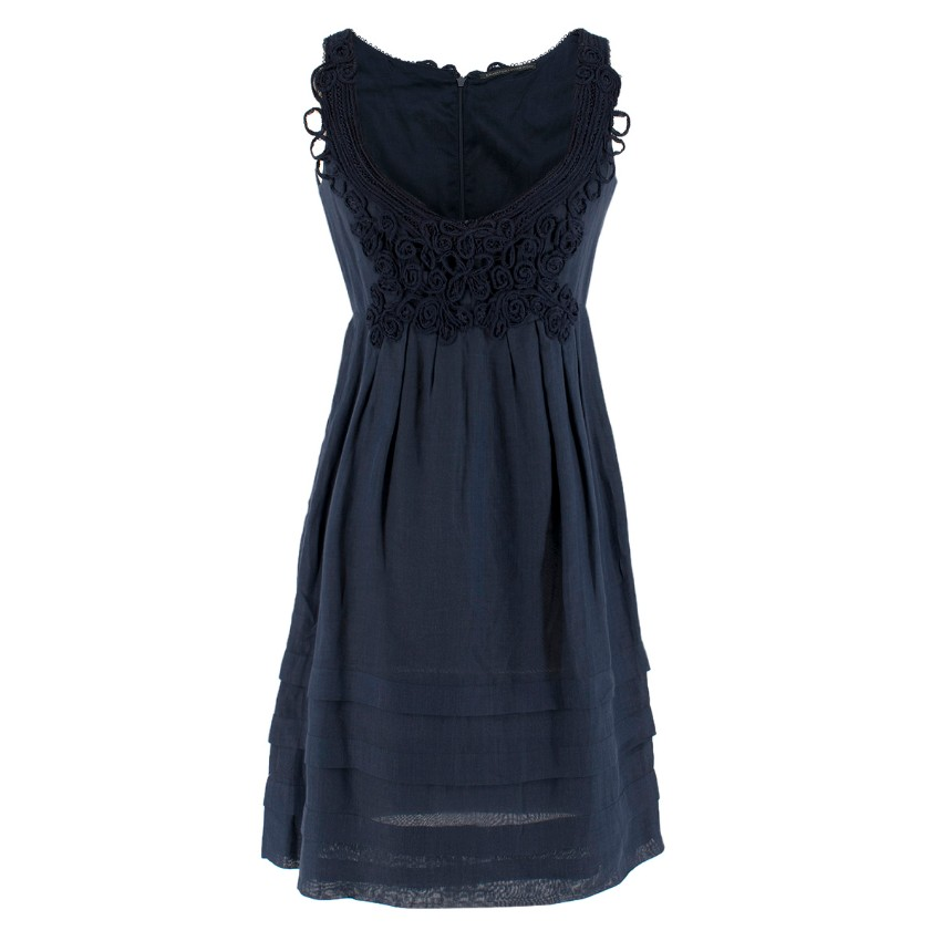 E /rmanno Scervino Cotton Navy Lace Embroidered Dress