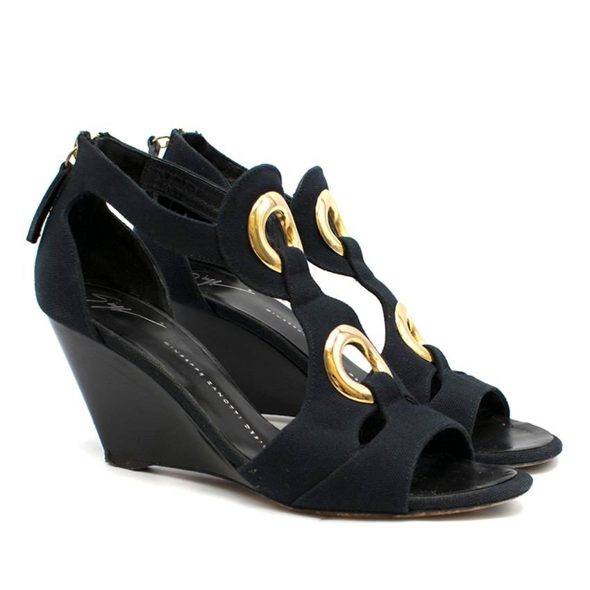 Giuseppe Zanotti Navy & Gold Canvas Wedge Sandals