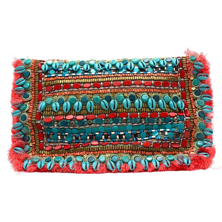 Matthew Williamson Suede Bead Embellished Clutch Bag