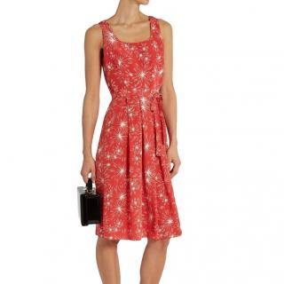 HVN Jordan Red Printed Summer Dress