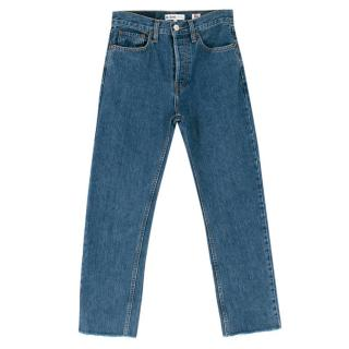 Re/Done Originals High Rise Stove Pipe Ankle Crop Frayed Jeans