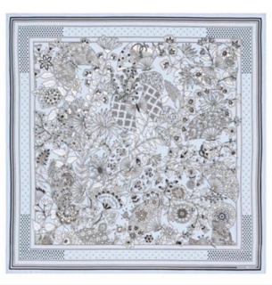 Hermes Fleury et Papillons de Tissus Silk Bandana 55