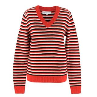 Jonathan Saunders Red Multi-coloured Striped Knit Jumper