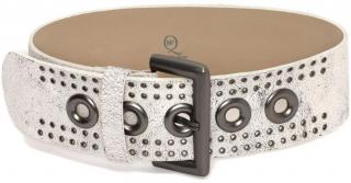 McQ by Alexander McQueen White Crackled Leather Waist Belt