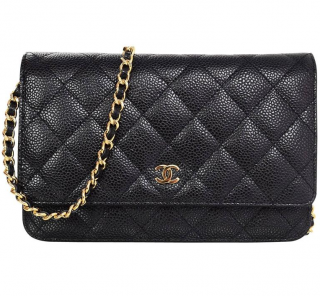 Chanel Black Caviar Leather Quilted Wallet on Chain
