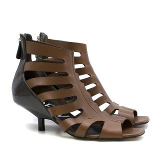 Loewe Two-Tone Leather Cut-Out Kitten Heel Sandals
