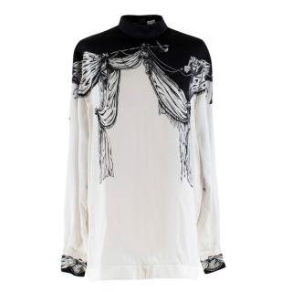 Loewe Silk Black & White Drape Print Button Back Top