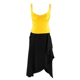 JW Anderson Contrast Jersey Bodice Dress Black