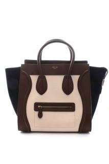 Celine brown/cream/navy mini luggage bag