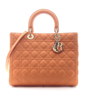 Dior Orange Lambskin Large Lady Dior Tote
