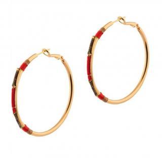 Satellite Paris Beaded Silk Gold Tone Earrings