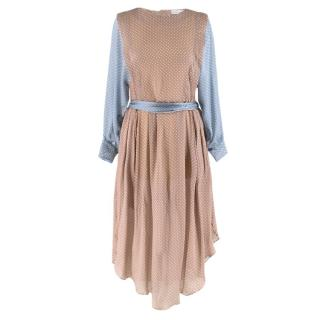 Jonathan Saunders Silk Polka Dot Brown & Blue Dress